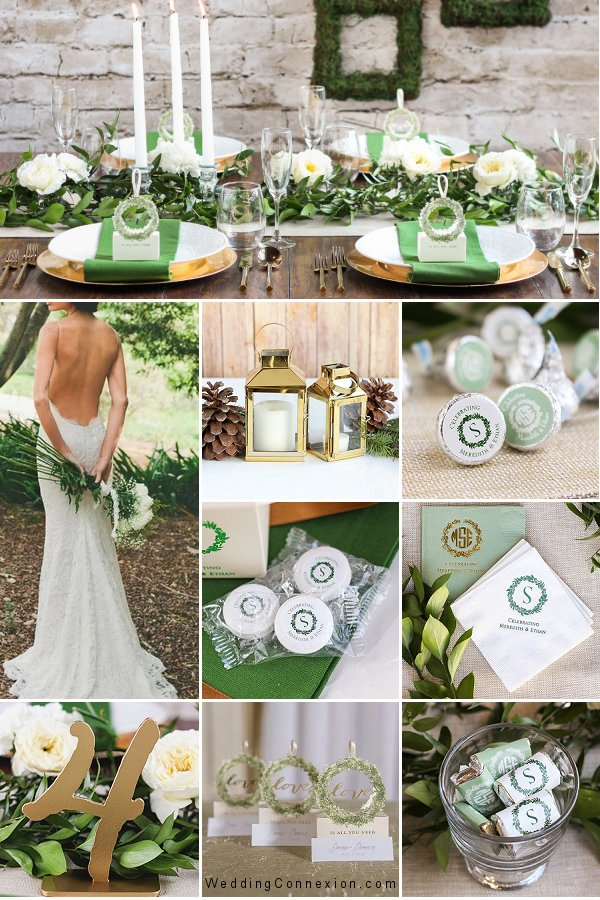 Forest Green And Gold Rustic Wreath Wedding Theme Inspiration - WeddingConnexion.com