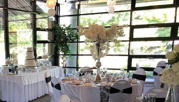 White, Silver & Black Wedding Reception