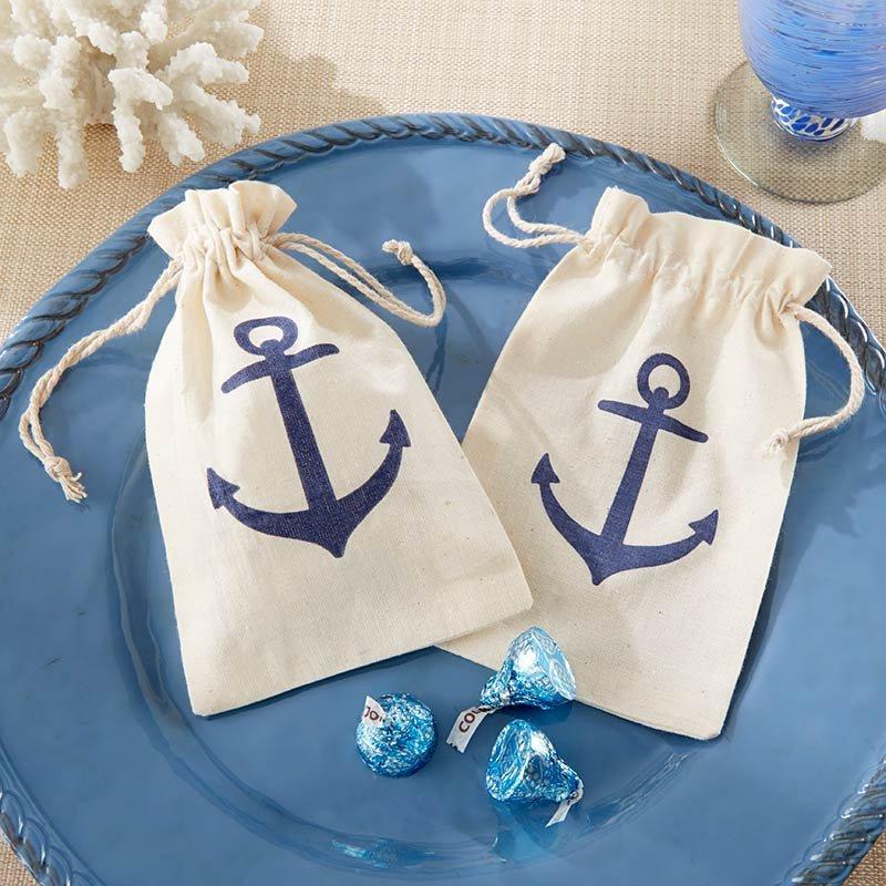 Anchor Muslin Nautical Themed Favor Bags