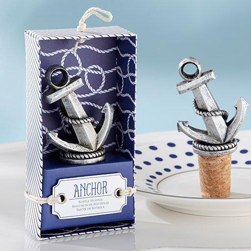 Silver Anchor Wine Bottle Stopper Nautical Wedding Theme Favors