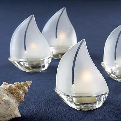 Nautical Glass Sailboat Tea Light Holder Favors