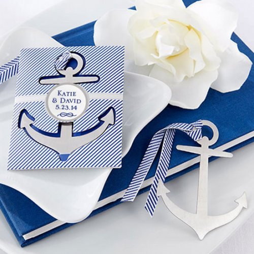 Personalized Nautical Brushed Metal Anchor Bookmark