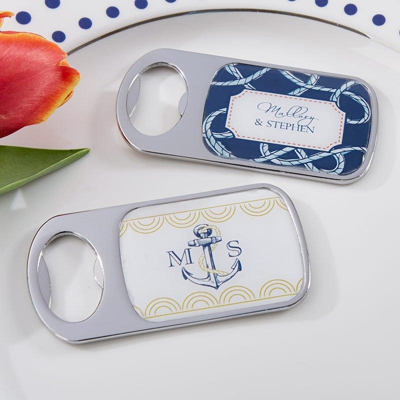 Personalized Epoxy Dome Bottle Opener Nautical Wedding Theme Favors
