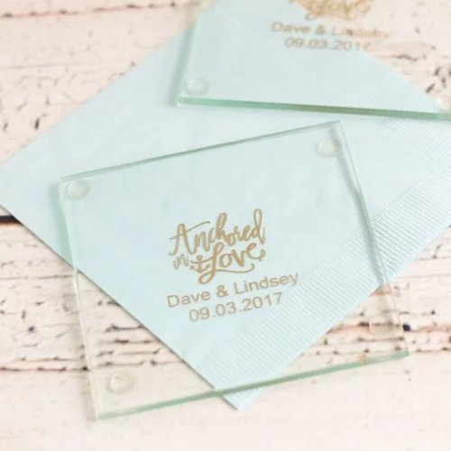 Nautical Themed Personalized Glass Coaster Wedding Favors