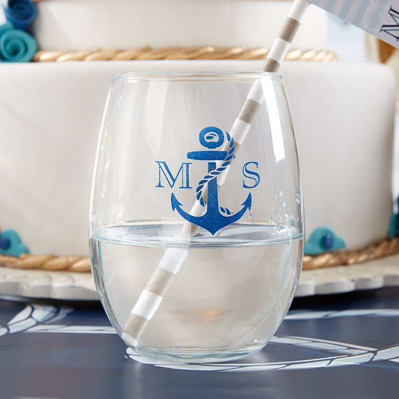 Nautical Stemless Wine Glass Favors