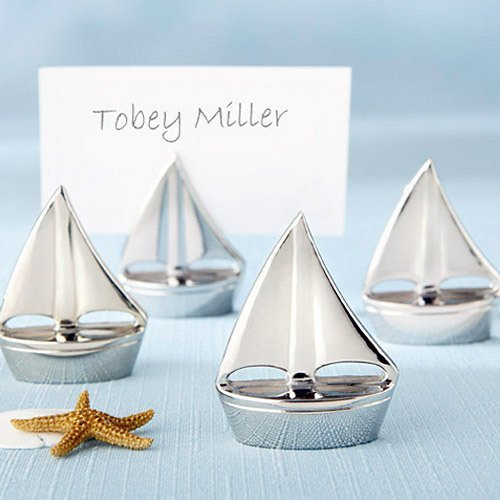Silver Sailboat Place Card Holder Nautical Wedding Favors