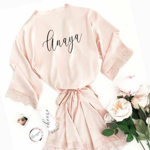 Personalized satin and lace robe for the bride and her bridesmaid.