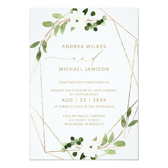 Trendy Geometric Greenery Faux Foil Wedding Invite.