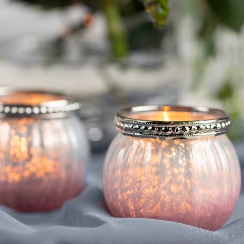 Pink Ombre Mercury Glass Votive Candle Holder