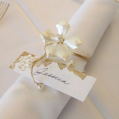 Vintage Pearl Gold Wire Napkin Rings