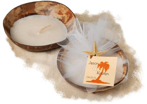 This coconut shell starfish candle favors make for a memorable gift for your wedding guests.