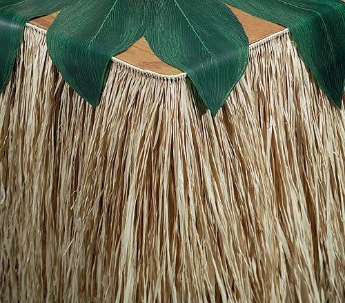 Island Vibe Wedding Raffia Table Skirting Decor Idea