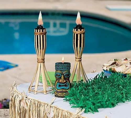 """These tabletop tiki lights are a great addition to an island vibe wedding theme.  Each 13"""" high tiki torch light is made from bamboo and is for outdoor use only."""
