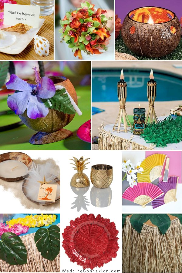 Get inspired with an Island vibe wedding themed decor and favor ideas from WeddingConnexion.com