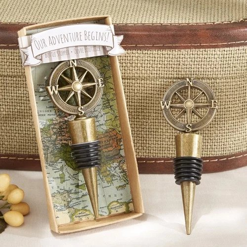 Nautical Themed Compass Wine Bottle Stopper Favors