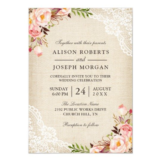 Blast From The Past Classy Floral Lace Wedding Invitation