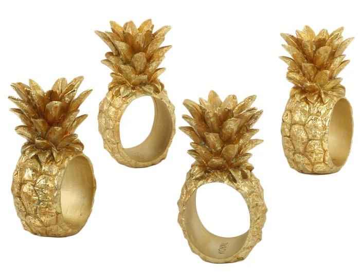 Tropical Wedding Pineapple Napkin Rings Elegant Table Decor Idea