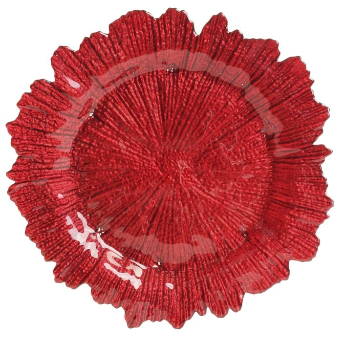 Tropulence Wedding Theme Red Flora Glass Charger Plate Table Decor Idea