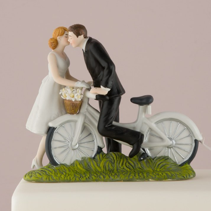 A Kiss Above Bicycle Romantic Porcelain Figurine Couple Wedding Cake Topper