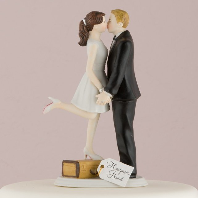 A Kiss And We're Off Romantic Porcelain Figurine Couple Wedding Cake Topper