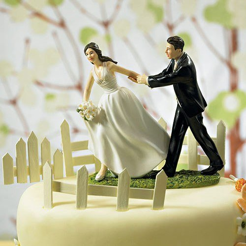 A Race To The Altar Comical Couple Porcelain Wedding Cake Topper
