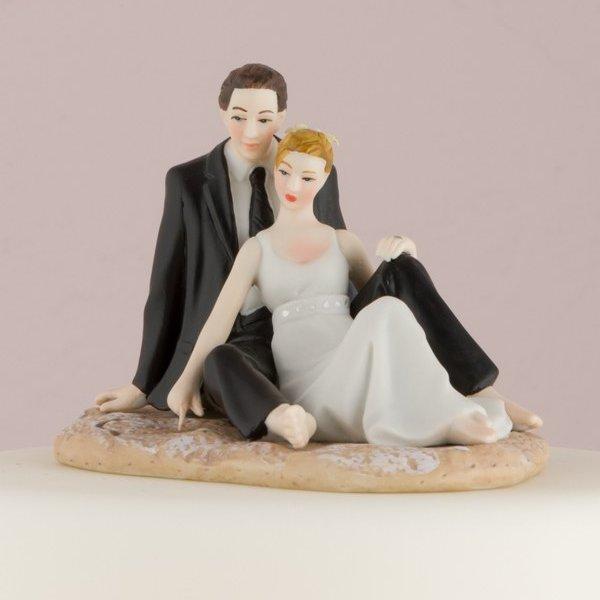 Beach Lovers Romantic Porcelain Figurine Couple Wedding Cake Topper