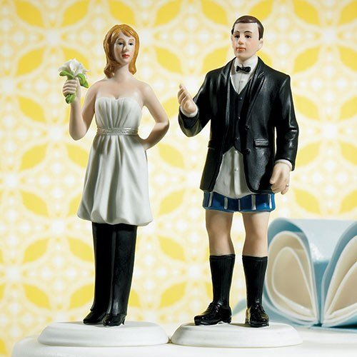 Bride In charge Comical Couple Porcelain Wedding Cake Topper