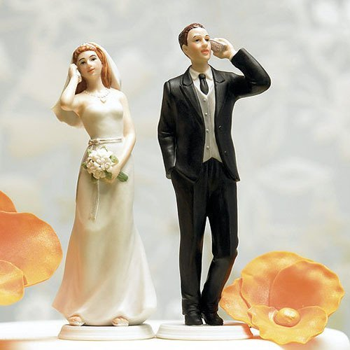 Cell Phone Comical Couple Porcelain Wedding Cake Topper
