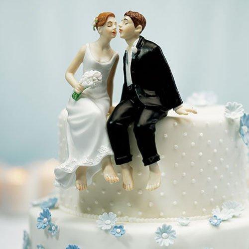 Sitting Couple Comical Porcelain Wedding Cake Topper