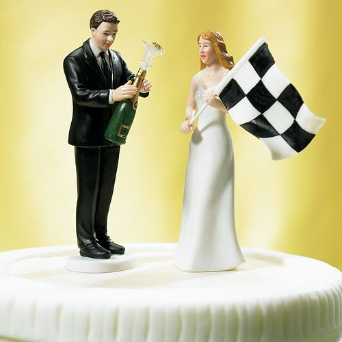 Finish Line Comical Couple Porcelain Wedding Cake Topper