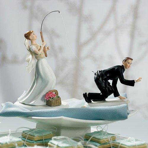 Gone Fishing Comical Couple Porcelain Wedding Cake Topper
