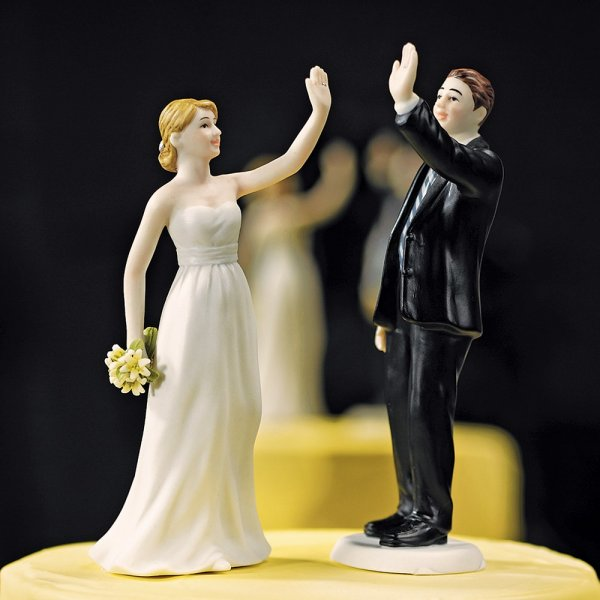 High Five Comical Couple Porcelain Wedding Cake Topper