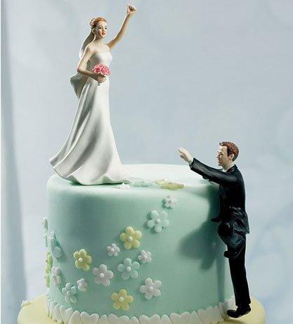 Highest Mountain Comical Couple Porcelain Wedding Cake Topper