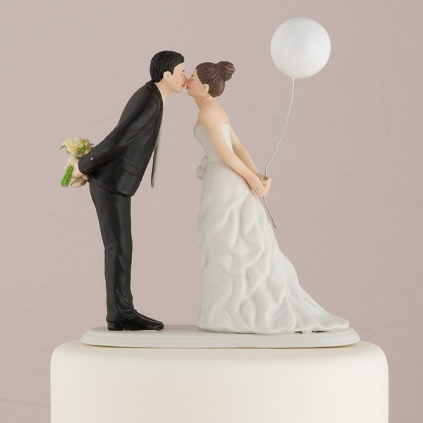 Leaning In For A Kiss Romantic Porcelain Figurine Couple Wedding Cake Topper