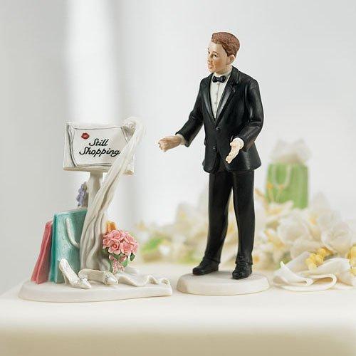 Still Shopping Comical Porcelain Wedding Cake Topper