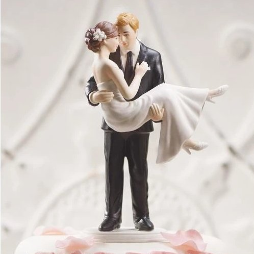 Swept Up In His Arm Romantic Porcelain Figurine Couple Wedding Cake Topper