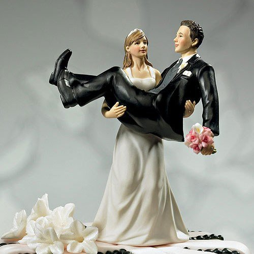 To Have And To Hold Comical Couple Porcelain Wedding Cake Topper