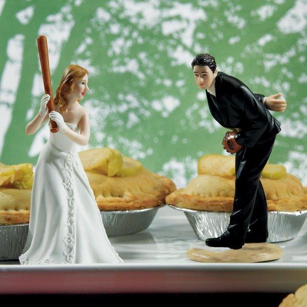 Baseball Sports Couple Figurine Wedding Cake Topper