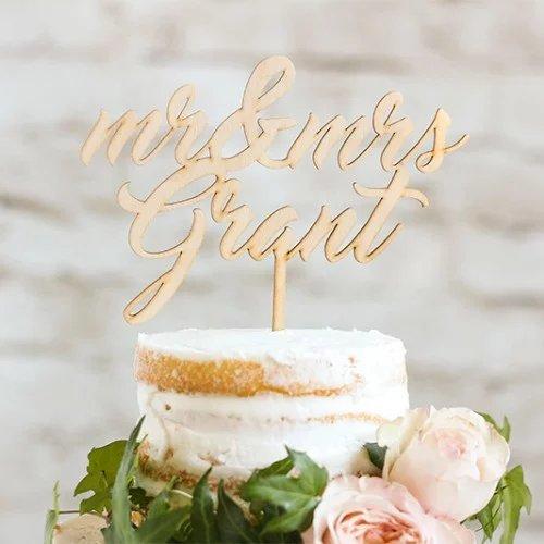 Custom Name Wood Wedding Cake Topper