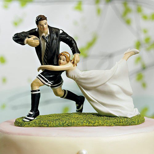 Football Sports Couple Figurine Wedding Cake Topper