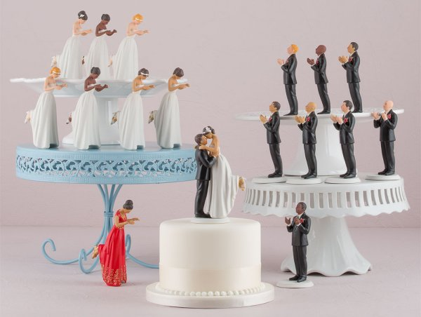 Interracial True Love Cake Toppers