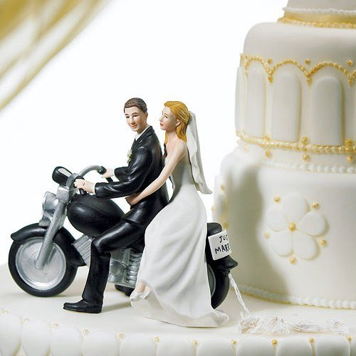Motorcycle Get Away Sports Couple Figurine Wedding Cake Topper