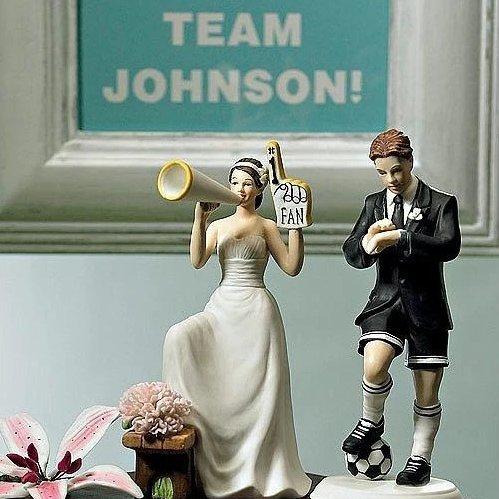 Cheering Bride Sports Couple Figurine Wedding Cake Topper