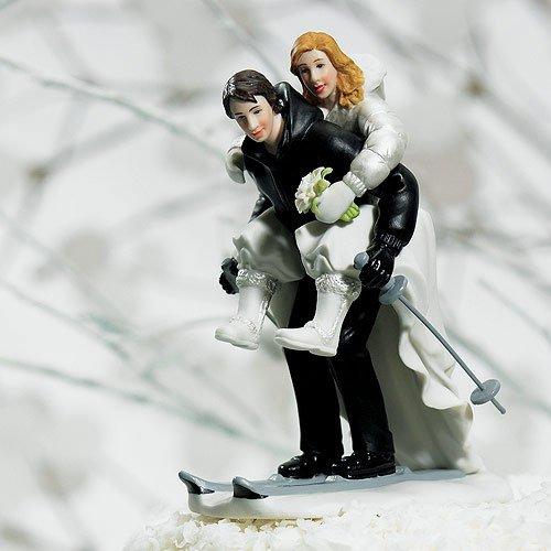 Winter Skiing Sports Couple Figurine Wedding Cake Topper