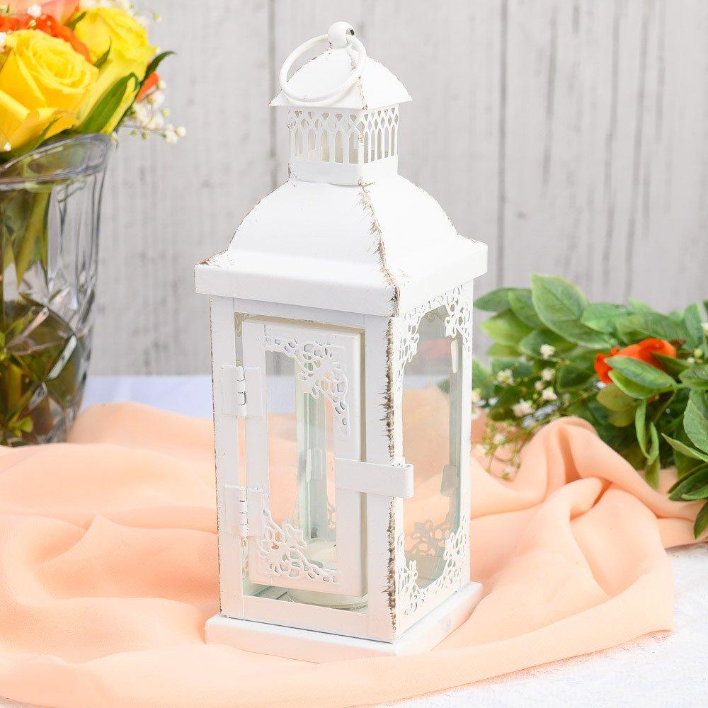 Enhance your wedding table decor with this gorgeous antique white lantern.