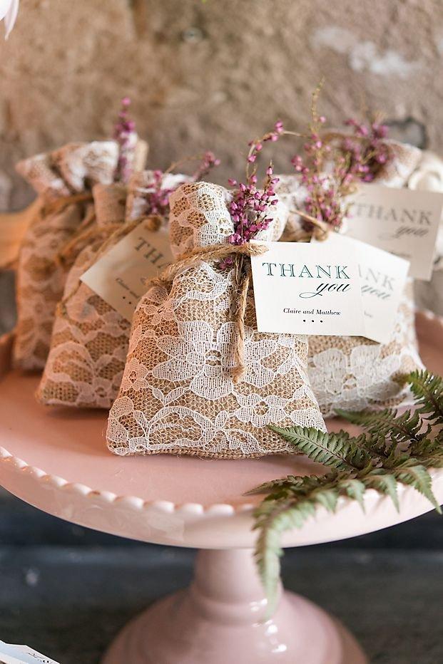 Vintage Romantic Burlap Lace Favor Bags