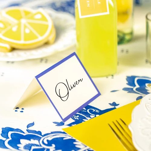 China Blue Frame Place Cards
