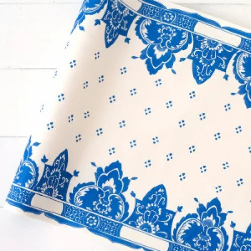Garden Wedding China Blue Paper Table Runner