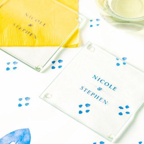 Garden Wedding Personalized Glass Coasters