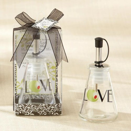 These olive oil bottle makes for a fun, and tasty favor for an Italian  cooking themed bridal shower or wedding.